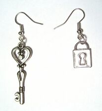 Skeleton Heart Key and Lock Silver Plated Dangle Hook Charms Earrings Victorian