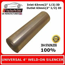 """4"""" x 8"""" Weld On Stainless Steel Silencer Exhaust Box Body, 63mm In - 63mm Out"""
