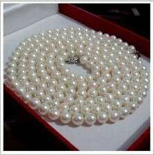 """36""""  8-9mm AAA+ perfect south sea white cream pearl necklace 14k Gold Clasp"""