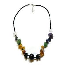 Negro Con Cuentas De Siete Colores Chakra Multi Cristal Collar Para Chakra Balancing