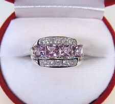 3.35 CTW PINK TOPAZ & WHITE SAPPHIRE RING sz 7.25 WHITE GOLD/925 STERLING SILVER