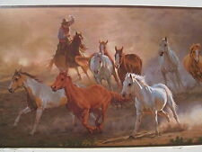 COWBOYS HORSES ROPING OLD WEST Wallpaper Border 9""