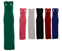 Ladies Plain Racerback Bodycon Jersey Long Stretch Sleeveless Holiday Maxi Dress