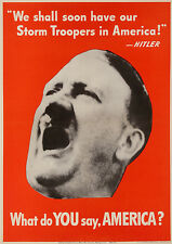 Original Vintage WWII Poster What Do You Say America - Hitler 1942 German USA