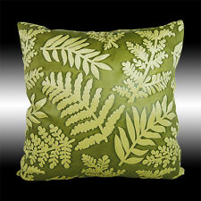 VINTAGE LIME GREEN LEAF SOFT VELVET DECO THROW PILLOW CASE CUSHION COVER 17""