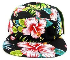 5 PANEL HAWAIIAN ALL OVER PRINT CAMPER HAT BIKER CAP FLORAL BLACK CYCLING CADET