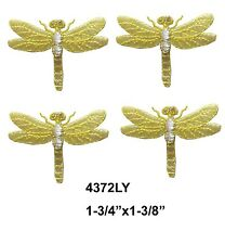 #4372LY Lot 4Pcs YellowSilver Dragonfly Embroidery Iron On Applique Patch