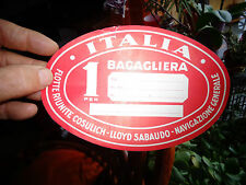 Ancienne Etiquette à Bagage ITALIA 1 BAGAGLIERA 1 personne Voyage en avion