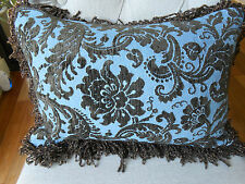 PAIR NEW Sky Blue & Brown Floral CUT CHENILLE Oblong Cushion covers with fringes