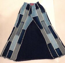 ZANA DI JEANS Long Maxi Blue Denim A-Line Patchwork Frayed Jeans Skirt Boho 9