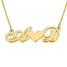 Gold Love Two Initial Heart Necklace Gold Plated Personalized Couple Nameplate