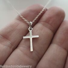 Tiny Cross Charm Necklace - 925 Sterling Silver - Cross Necklace Faith Religion