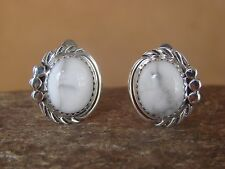 Native American Sterling Silver Howlite Clip On Earrings Delores Cadman Navajo