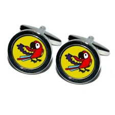 Round Yellow Parrot Cufflinks Bird Watcher Cruise Party Formal Present Gift Box