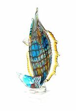 "New 17""  Large Hand Blown Glass Fish Figurine Sculpture Blue Decorative"