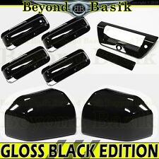 15-17 Ford F150 Crew Cab GLOSS BLACK Door Handle COVERS N+Bowls+Mirror+TailgateK