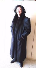 Reversible Black Raincoat with Mink and Fox Collar Full Length Flemington Furs