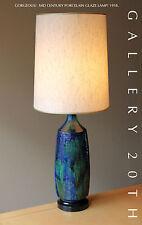 RARE! MID CENTURY MODERN BLUE GREEN GLAZED ATOMIC LAMP! Eames 50s 60s Vtg Table