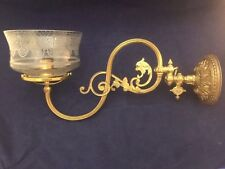 Vintage Gas Solid Brass Adjustable Wall Sconce Dragon Face Converted Electric