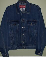 WRANGLER HERO Trucker Jacket sz Large Blue Jean Denim Cowboy Rodeo Bikers Coat