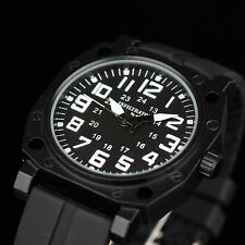 INFANTRY Mens Analog Quartz Wrist Watch Army Military Sport Black Rubber Fashion