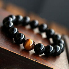 Classic Unisex Men's Women's Jewelry Agate Tiger Eye Beads Bangle Bracelet