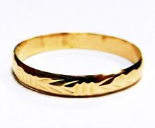 14K Solid Yellow Gold Filigree / Floral Accent Design Ring  / Band Size 7.00