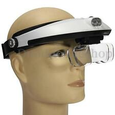 Head Magnifier Reading Magnifying Glass Loupe LED Light Adjustable With 5 Lens