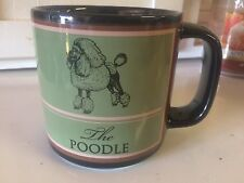 Russ Berrie Poodle Mug Black w/ Green,Brown,White and Breed Info/ Extra Large