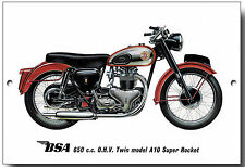 BSA 650CC O.H.V. TWIN MODEL A10 SUPER ROCKET METAL SIGN.MOTORCYCLES.