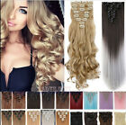 7 pcs set 70g 100%% Remy Hair Clip in Human Hair Extensions Black Brown Blonde