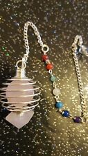 Natural Rose Quartz Cage Pendulum With 7 Chakra Stone Sphere Crystal Healing Uk