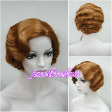 Ladies Classy Vintage Short Curly Wavy Wig Brown MIX Natural Hair Wigs + Wig Cap