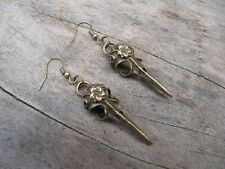 Free Shipping Antique brass Vulture Bird Skull Pendant earrings!