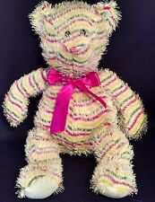 "Sugar Loaf Plush White Striped Bear 20"" 2007 Coinstar Pink, Green, Yellow"