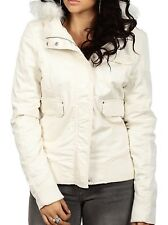 $129 Fox Racing Women's Evolve Bomber Jacket Faux Fur Hooded Bone Color Size L