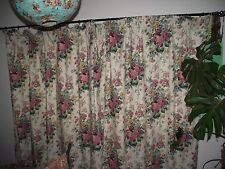 "Vintage Shabby chic roses floral curtains, lined, 67"" w x 69"" drop"