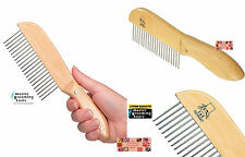 """Long Hair Coat""""Poodle Style""""Utility Dog Cat Pet Grooming Comb w/Ergo Wood Handle"""