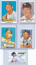 "MICKEY MANTLE 1951 BOWMAN/1952 TOPPS ROOKIE CARD REPRINT ""5"" CARD LOT! YANKEES!"