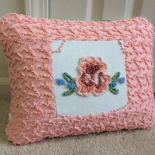"Cabin Craft Peach Blue Throw Pillow Case from Chenille Bedspread 12""X 16"""