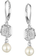 ELLE Sterling Silver Cultured Freshwater Pearl Micro Pave CZ Lever Back Earrings