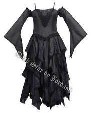 Femme noir gothique steampunk médiéval style victorien layered dress taille 12-16