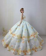 New Dolls Clothes Floral Embroidery Party Dress Wedding Gown for Barbie Doll