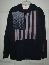 Gap American Flag hooded sweatshirt S 6-7 years zip front jacket navy blue