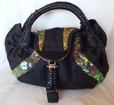 FENDI Black Leather Irridescent Sequin Spy Bag Handbag Purse