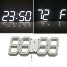 White Large Modern Digital Led Wall Clock Countdown Watches 12/24 Hour Display