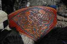 Woman's Leather Tooled Belt with Norse Dragon Images for LARP, Cosplay, Ren Fair