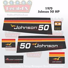 1975 Johnson 50 HP Sea Horse Outboard Repro 6Pc Marine Vinyl Decals Loop Charged