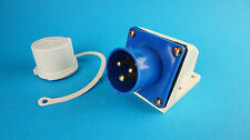 FREE P&P* IP44 230v 16amp Caravan Inlet Socket with Cap for Caravan electrics