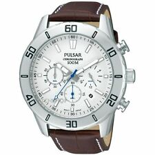 Pulsar PT3 433 Mens Quartz Chronograph Brown Leather Strap Watch